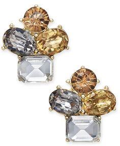Charter Club Gold-Tone Multicolor Crystal Cluster Stud Earrings, Only at Macy's