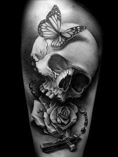 #skull #rose #cross #butterfly #black&white