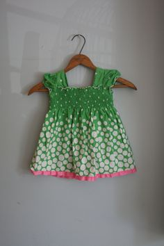 RIBBON and RUFFLED Green Polka Dot Girls Summer Dress....size 18 months.....girls. kids. children. green. dots. pink. dainty. girls dress