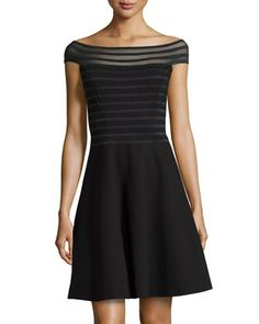 Sheer Off-The-Shoulder Dress, Black by Catherine Catherine Malandrino at Neiman Marcus Last Call.