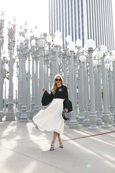 Atlantic-Pacific // LACMA // A white Roksanda skirt and black bell sleeve top White Midi Skirt, White Dress, White Outfits, Pretty Outfits, Casual Outfits, Girly Outfits, Spring Fashion Outfits, Summer Outfits, Atlantic Pacific