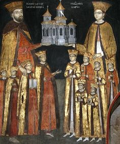 Mamu Monastery (in Stanesti Lunca, Lungesti, Valcea county), Constantin Brancoveanu and family. Painters Parvu Mutu and Marin, Art Oil, Op Art, Orthodox Icons, Mural Painting, Mythology Art, Painting, Art, Albrecht Durer, Art History