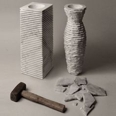 Paolo Ulian and Moreno Ratti shape marble vase with a hammer