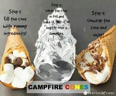 Smores in a waffle cone, stuffed with marshmallows, and chocolate. Then wrapped in foil, put on grill, over campfire, or in the oven!! Yummmmy!! Camping Meals, Kids Meals, Camping Hacks, Camping Desserts, Camping Cooking, Family Camping, Camping Cones, Camping Essentials, Desserts On The Grill