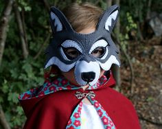 Whos afraid of the Big Bad Wolf?  A felt mask with hand embroidered details makes a handsomely dashing wolf. This Printable PDF pattern is fully