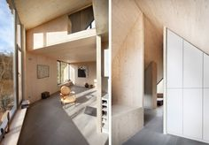 The odd shape of the plan is mimicked in the forms created by the walls intersecting the vaulted ceiling. #TinyHouseforUs
