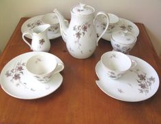 Vintage Leaf Motif China Tea Set in Purple & Gray - 11 Piece from WhimsicalVintage Exclusively on Ruby Lane