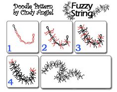 Fuzzy String Pattern Sheet  This is an original doodle design. Grab the full size worksheet in pdf form, see the how-to video and examples of line art created using this pattern at Cindy Angiel's Rainbow Elephant blog.
