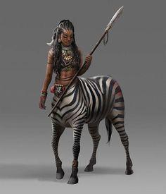 female fighter / warrior zebra centaur spear weiklder fantasy woc character for DnD or Pathfinder Mythical Creatures Art, Mythological Creatures, Magical Creatures, Black Characters, Fantasy Characters, Female Characters, Fantasy Races, Fantasy Art, Fantasy Inspiration