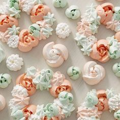 The great thing about meringue cookies is that they're light and airy—perfect for brunches or light summer desserts. Made using the Easy Blooms Tip Set, these Light and Airy Meringue Wreath Cookies may look challenging, but they're super easy to make! Easter Cookies, Sugar Cookies, Christmas Cookies, Meringue Cookie Recipe, Cookie Recipes, Cookie Ideas, Cakepops, Mini Cakes, Cupcake Cakes