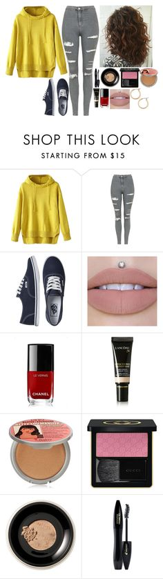 """""""Untitled #8258"""" by gabriellewidger ❤ liked on Polyvore featuring Topshop, Vans, Chanel, Lancôme, TheBalm, Gucci, Bare Escentuals and Nordstrom"""