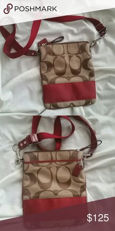 NWOT COACH CROSSBODY/HIP  BAG NWOT Cute small Coach Signature in Tan with deep red contrast.   Thin , deep bag. A deep pocket on each outside. Perfect for anytime you need to keep your valuables close to your body. Strap has open clip on one end so it can be worn around hip. Festivals, clubbing,  anytime you need hands free. Coach Bags Crossbody Bags