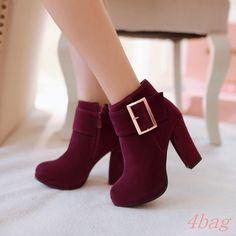 Womens Shoes High Block Heel Metal Buckle Strap Faux Suede Side Zip Platform Sz