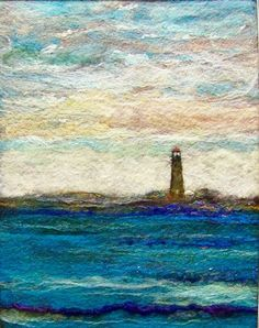 Light house, needle felting can't go wrong with a lighthouse. Wet Felting, Needle Felting, Felt Pictures, Felt Embroidery, Textiles, Landscape Quilts, Felting Tutorials, Felt Art, Sketches