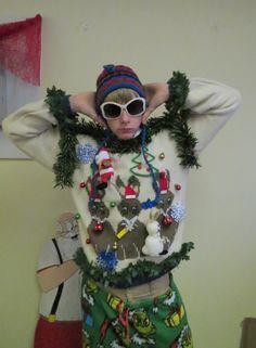 Hoppy Holidays Bunny Rabbit Light up Tacky Ugly Christmas Sweater  Garland  Light Up Singing Santa