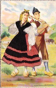 POSTAL BORDADA DE ASTURIAS TRAJE TIPICO EDICIONES MADRID (Postales - España - Asturias Antigua (hasta 1.939))