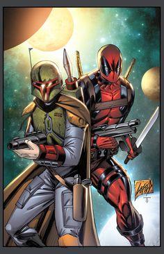 Boba Fett & Deadpool - line art: Rob Liefeld, color: juan7fernandez.deviantart.com. My team for the apocalypse.
