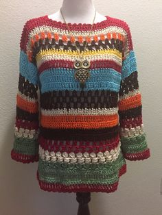 Crochet Blouse Patterns Beautiful Multicolor Sweater made with left over cotton thread. - Beautiful Multicolor Sweater made with left over cotton thread. Black Crochet Dress, Freeform Crochet, Crochet Cardigan, Knit Crochet, Crochet Tops, Thread Crochet, Knooking, Gilet Long, Crochet Patron