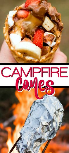 Campfire Cones are a great alternative to the messy smores and the perfect camping recipe! Stuffed with chocolate marshmallows strawberries bananas and anything else you have around the house and melted on the grill or over the campfire. The perfect s Winter Desserts, Summer Dessert Recipes, Desserts For A Crowd, Single Serve Desserts, Köstliche Desserts, Delicious Desserts, Strawberry Desserts, Desserts On The Grill, Grilled Desserts