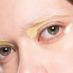 Backstage at Mary Katrantzou, AW17 London Fashion Week. Re-create this pastel eye look with MAC Paint Stick in Primary Yellow combined with Pure White.