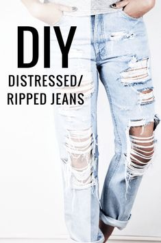DIY Distressed Jeans by Sutton + Grove A DIY Tutorial. Join me and learn how to do your very own pair of DIY distressed jeans. It's not too hard it just takes a little patience! Diy Jeans, Löchrige Jeans, Holey Jeans, Ripped Jeggings, Ripped Skinny Jeans, Diy Ripped Jeans Tutorial, Diy Distressed Jeans Tutorial, How To Ripped Jeans, Destroyed Jeans