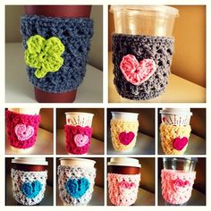 Set of 4 coffee/tea cozies. Choose your own color & design ~ Crochet Mug Cozy, Diy Crochet, Cool Diy Projects, Craft Projects, Craft Ideas, Secret Pal Gifts, Fun Crafts, Arts And Crafts, Crochet Kitchen