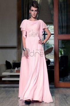 Abiti in Magazzino-il trasporto libero allentato style cap maniche uno rosa lunghe indossare abiti da damigella d\'onore formale con nuova moda