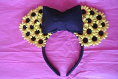 Minnie Mouse Sunflower Ears by CrazyBeautifulCreati on Etsy, $19.00