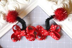 Mikayla is having a lady bug birthday and Jammy has her outfit. I'm going to make Mikenna a red/black tutu with a onesie and these for her hair! <3 my GIRLS!!