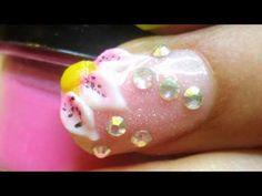 Como hacer diseños de uñas acrilicos en relieve 3D y flor sencilla