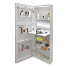 The functional New View Makeup Cabinet easily hangs over the door and is a great storage piece for all of your makeup and accessories. Can also be hung directly on your wall. Enjoy the convenience of the nicely sized exterior mirror. Makeup Storage Cabinet, Makeup Storage Case, Makeup Organization, Storage Organization, Storage Hacks, Storage Solutions, Organizing, Bed Storage, Craft Storage