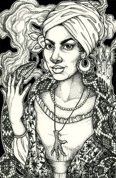 "marie laveau | 5x5.5"" ink on cold press Arches paper"