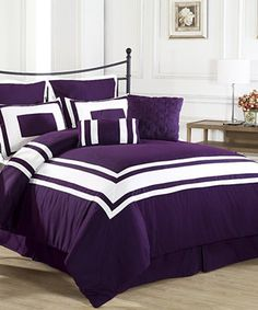 Love this Purple Lux-Décor Down-Alternative Comforter Set by Exceptional Sheets on #zulily! #zulilyfinds