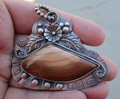 Sterling Silver and Bruneau Jasper Pendant with by rockhoundjody, $115.00