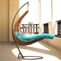 Great and Fun Idea to Hanging Wicker Chair — Equutrails Homes Dining Room Furniture Design, Wicker Furniture, Furniture Projects, Rattan, Outdoor Wicker Chairs, Outdoor Decor, Garden Furniture Inspiration, Diy Chair, Hanging Chair
