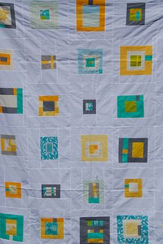 modern quilt with white sashing - MEW:  This is an idea for Mom's linens.
