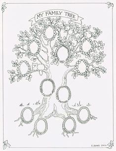 Chart My Family Tree Print, Supplies and Gifts at Genealogy Today Family Tree Art, My Family, Tree Templates, Printable Templates, Tree Tat, Family Genealogy, Coloring Pages, Photos, Birth Records