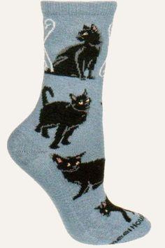 Wheel House Designs Black Cat On Blue Novelty Sock