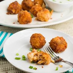 Hot, gooey fried cheese balls with a crispy coating, studded with bacon and dipped in a creamy buttermilk ranch dressing. This is one knock your socks off appetizer. It rivals Fried Crawfish Etouffee Balls as Broccoli Recipes, Veggie Recipes, Cooking Recipes, Dip Recipes, Cheese Recipes, Recipies, Great Appetizers, Appetizer Recipes, Cheese Appetizers