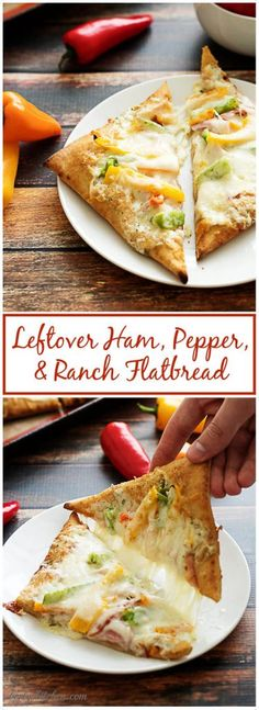 Our leftover ham, pepper, and ranch flatbread combines the flavors of cured ham, sweet colorful peppers, creamy ranch dressing and rich mozzarella cheese.   via @berlyskitchen