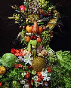 New York based artist Klaus Enrique. In an upcoming photography exhibit, called The Reaping, to be presented at Rebecca Hossack Gallery NYC, Oct. 16 - Nov. 6, 2013, he features a series of portraits created entirely from vegetables, fruits and other organic materials, which he reconfigures to create beautiful, often fanciful, human forms.