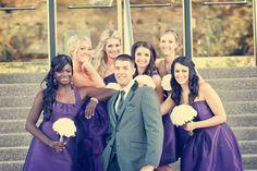Bridesmaids & groom- Wedding pose -Minneapolis, MN - Mill City Museum- Kyle + Maggie