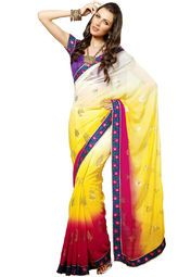 Yellow coloured embroidered saree for women by Ishya. Made from georgette, this saree measures 5.5 m in length, and comes with unstitched blouse piece of 0.8 m.
