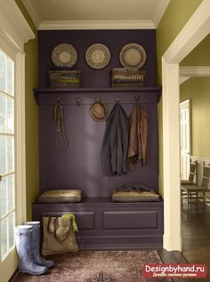 For the laundry room/mud room? Benjamin Moore Vintage Wine and Wasabi Want this COLOR in our Master Room Benjamin Moore Purple, Benjamin Moore Paint, Purple Paint Colors, Wall Colors, Plum Color, Plum Paint, Brown Paint, Color Shades, Interior Staircase