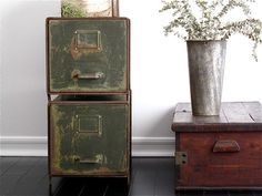 Vintage Metal File Cabinets - Industrial Office / Vintage Industrial Furniture - Filing Cabinets