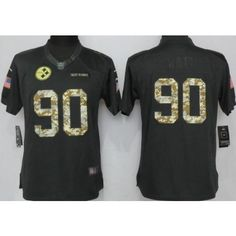 ff729298713 Women's Pittsburgh Steelers #90 TJ Watt Anthracite Salute To Service Jersey  Salute To Service,