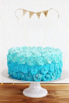 DIY Ombre Buttercream Cake - Perfect for a baby shower or birthday party.