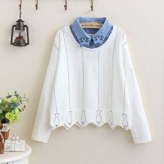"Japanese cartoon cat collar fleece pullover Coupon code ""cutekawaii"" for 10% off"