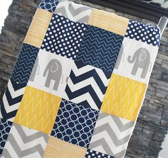 Patchwork Baby Blanket, Modern Baby Quilt -Navy Blue, Grey and Yellow Baby Blanket