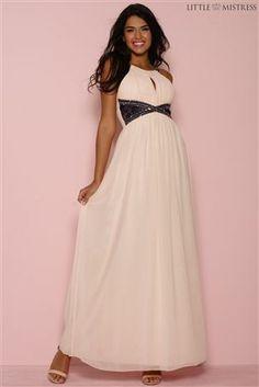 Little Mistress Embellished Lace Panel Maxi Dress